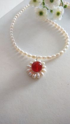 Necklace of Natural Red Carnelian and Cultured by SwamiJewelry https://www.etsy.com/sg-en/listing/190941866/necklace-of-natural-red-carnelian-and?ref=shop_home_active_7&ga_search_query=red