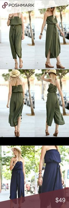 Olive Off Shoulder Strapless Jumpsuit Olive off shoulder strapless jumpsuit, whispy flutter style, woven jumpsuit. True to size.   100% rayon Pants Jumpsuits & Rompers