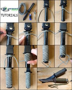 The Easiest and Best Handle Wrap—West Country Whipping Paracord Knots, Rope Knots, Paracord Bracelets, Paracord Tutorial, Survival Knots, Survival Tips, Survival Skills, Paracord Knife Handle, Paracord Projects