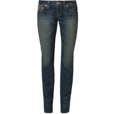 True Religion STELLA Slim fit jeans ($170) ❤ liked on Polyvore featuring jeans, blue, women's trousers, slim cut jeans, zipper jeans, blue jeans, slim fit jeans and true religion