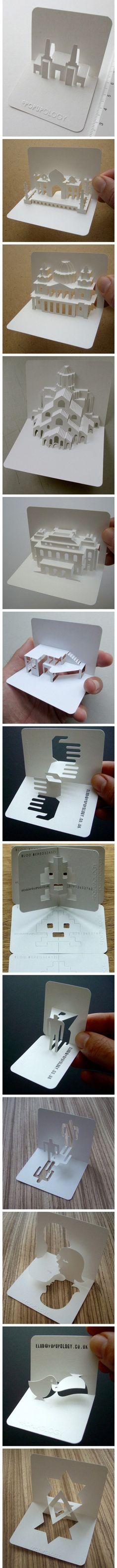 伦敦的艺术家 Elod Beregszaszi 不甘名片平凡无奇,匠心巧手的设计了一系列3D名片。