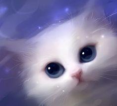 Apofiss Art | Apofiss art - apofiss, eyes, digital, art, blue, cat, white