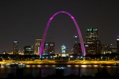 St. Louis Arch - Lit up in pink only once a year in October.    www.thesearethem.com
