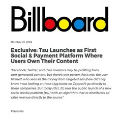 Shared by Val Street on tsu.co/cybizz *Where it Pays to Post*  Feel free - sign up *** http://www.billboard.com/articles/business/6289183/tsu-launches-as-f..
