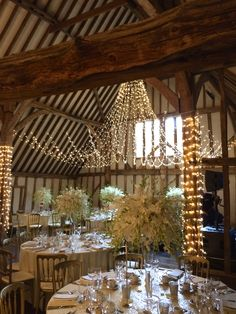 The 17th Century Essex Barn Ready For A Wedding At Blake Hall Fairy Lights