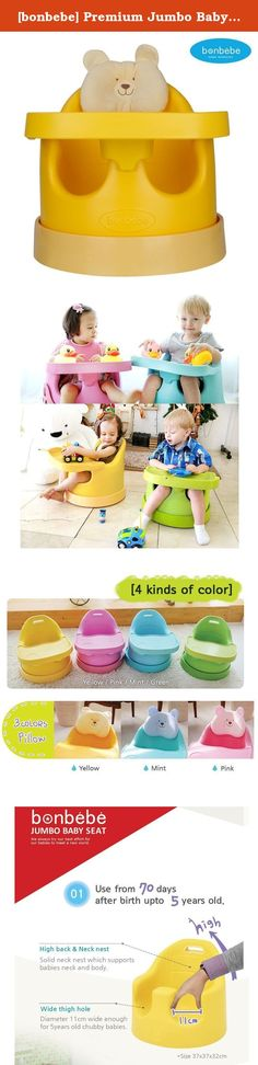 [bonbebe] Premium Jumbo Baby Seat + Safe Tray + Baby Cart Set with Removable Head Pillow - High Back & Neckrest, Wide Thigh Hole, Anti - Bacterialized & Soft PU Tray, Made in Korea, 4 Colors (Yellow). High quality Urethane wheel for ride on toys. - For babies around 70 days especially who can't support head, you can give a ramp on the chair by putting two wheels on the cart, so that babies can lean on the chair comfortably. - For babies after 4months, use 4wheels. It can go any direction…