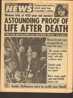 NOV 2 1982 WEEKLY WORLD NEWS tabloid magazine LIFE AFTER DEATH in Collectables, Paper & Ephemera, Other Paper & Ephemera | eBay