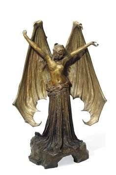 'Le Vampire' 'La Chauve-Souris', Symbolist Figure, circa 1903 // Agathon Léonard This little statue is beautiful, and considering my own spiritual path, I would probably end up using it as a goddess figure if I could find and afford her. Design Art Nouveau, Art Design, Bronze Sculpture, Sculpture Art, Bioshock, Image Blog, Jugendstil Design, Academic Art, Belle Epoque