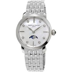 Frederique Constant Women's FC-206MPWD1S6B Slimline Ladies Moonphase Analog Display Swiss Quartz Silver Watch