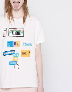 Pull&Bear - woman - t-shirts - short-sleeve t-shirt with patches - white - 05244352-V2016