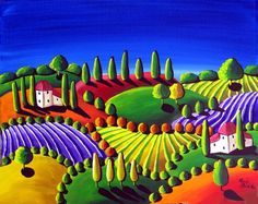 Colorful Whimsical Tuscan Folk Art Landscape Painting Original by reniebritenbucher Landscape Art, Landscape Paintings, Art Paintings, Painting Art, Tuscan Art, Wall Art Prints, Fine Art Prints, Framed Prints, Canvas Prints