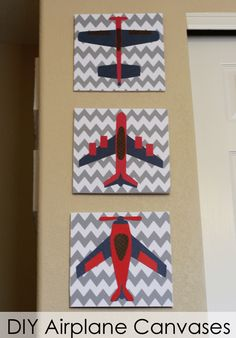 Faux airplane canvases using foamboard and scrapbook paper! #airplane #room