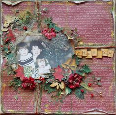 Cherish ~ beautifully colored and distressed heritage Christmas page.