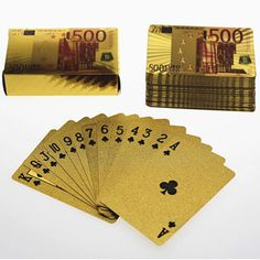 Gold Foil  Art Poker Plated Playing Cards Euro 500 Color Printing 5 sets lot