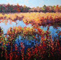 """Autumn Marsh Grasses 30"""" x 30"""" Oil on Canvas Private Collection"""