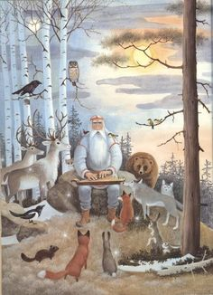 "Looks like Santa tellign woodland creatures a story ""Louhi Witch of North Farm"" – Retold by Tony De Gerez – Pictures by Barbara Cooney Barbara Cooney, Woodland Creatures, Gods And Goddesses, Children's Book Illustration, Whimsical Art, Spirit Animal, Illustrators, Folk Art, Fairy Tales"