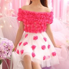 Sweet Japanese dew shoulder flower gauze dress