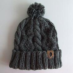 Chunky Knit Beanie with Pom Pom, Gray Knit Beanie Cable Knit Beanie Winter Hat…