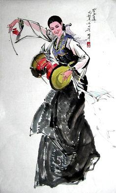 (North Korea) Korean traditional Janggo dance painted by An Myeong-seok (1960-   ). Korean brush watercolor.