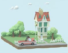 Low Poly House designed by Mohamed Chahin. Web Design, House Design, Low Poly, Cute Art, Knight, How To Draw Hands, Behance, Scene, Animation