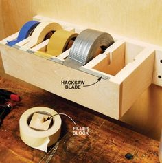 Great idea! Maybe make a portable one? Tape dispenser - masking, duct, painters, etc. 49 Brilliant Garage Organization Tips, Ideas and DIY Projects
