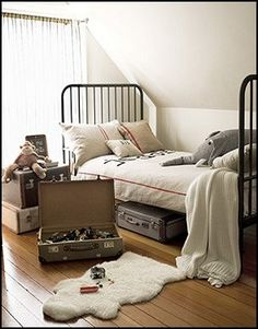 San Francisco Victorian Homes - White Victorian Home Decor - Country Living . Linens by My Adobe Cottage adorn an Ikea bed. Cool Boys Room, Boy Room, Child's Room, Kids Bedroom, Bedroom Decor, Kids Rooms, Cozy Bedroom, Boys Bedroom Ideas 8 Year Old, Nature Bedroom