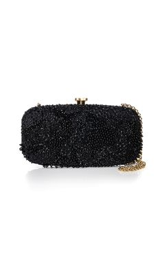 Shop Black New Goa Clutch. This rounded box clutch features allover heavy embroidery and a crystal top push lock closure embroidered satin Made in Italy . My Bags, Purses And Bags, Handbag Accessories, Fashion Accessories, Goa, Or Noir, Beaded Bags, Vintage Handbags, Beautiful Bags