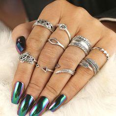 9 bucati/ set inele Antice, culoare aurie, argintie, Pana, Floare, Triunghi, inele Degete pentru Femei