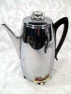 Sold VINTAGE UNITED CHROME 8 CUP ELECTRIC COFFEE MAKER PERCOLATOR NO
