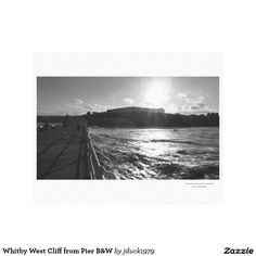 Whitby West Cliff from Pier B&W Canvas Print