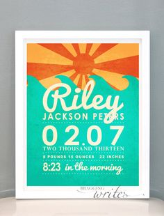 Beach Poster Birth Stat Print Personalized by braggingwrites, $15.00