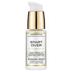 Sunday Riley Start Over Active Eye Cream 1 oz by Sunday Riley. $85.00. What it is:An active eye cream that corrects puffy eyes, dark circles, and damaged skin.What it does:This cooling, lifting eye cream is formulated with key ingredients that repair, protect, and nourish the delicate eye area while helping you appear more rested and alert. Photostable antioxidants for day use help to renew, strengthen, and regenerate the periorbital tissues for instant plumping of fine lines ...