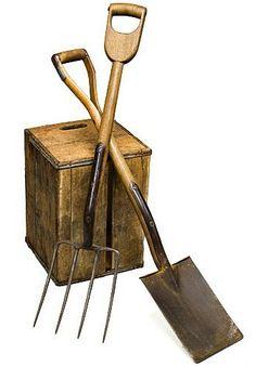 spade for transplanting and fork
