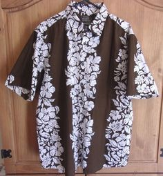 Pineapple Connection Hawaiian Shirt XL Island Life Brown with Ivory Floral #PineappleConnection #Hawaiian