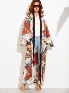 Calico Print Contrast Trim Belted Maxi Kimono