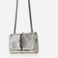 Image 4 of METALLIC LEATHER CROSSBODY BAG from Zara