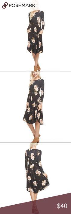 Black & Olive Floral Midi Round Hem Pocket Dress Best Selling Dress Black & Olive Floral Midi Round Hem Pocket Dress. Fabric: 95% Poly & 5% Spandex. Made in USA. No Trades. Price is Firm Unless Bundled GlamVault Dresses Midi