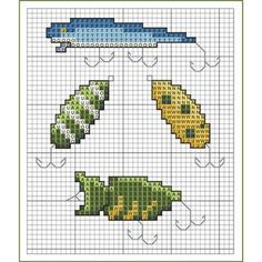 Use these fishing lure motifs to embellish cards, clothing, gift bags, samplers, and more! Counted Cross Stitch Patterns, Cross Stitch Designs, Cross Stitch Embroidery, Fish Quilt Pattern, Knitting Charts, Cross Stitching, Fishing Lures, Fishing Tips, Needlework