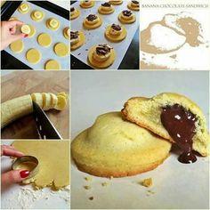 "love-this-pic-dot-com: "" DIY Banana Chocolate Sandwich "" YUM Chocolate Fudge Cookies, Chocolate Cookie Recipes, Chocolate Pastry, Chocolate Butter, Chocolate Treats, Just Desserts, Dessert Recipes, Dessert Healthy, Comida Diy"