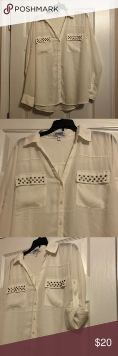 cdf12b03e4 Large Portofino Shirt by Express  White with studs Beautiful white shirt  with gold studs on pockets Can be worn as long sleeve or length Portofino  by ...