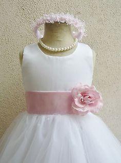 White fuchsia blush pink mauve coral orange peach tulle flower girl party dress