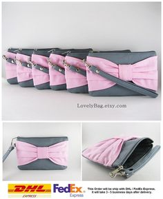 SUPER SALE - Set of 7 Gray with Light Pink  Bow Clutches - Bridal Clutch, Bridesmaid Clutch,Bridesmaid Wristlet,Wedding Gift - Made To Order by LovelyBag on Etsy https://www.etsy.com/listing/160136532/super-sale-set-of-7-gray-with-light-pink