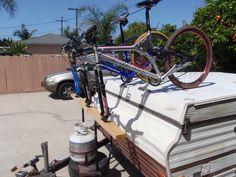 Bike rack for pop up trailer