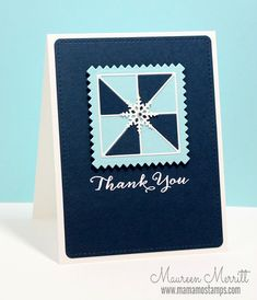 handade quilt card ... monochromatic blues ... llittle die cut pinwheel quilt block  ....