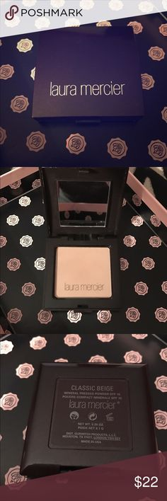 "THE BEST! Laura Mercier Pressed Powder  This is a holy grail powder for me! Absolutely gorgeous consistency, sits beautifully on the skin. This is a back up of my ""summer shade"", I won't need for it for quite some time! Brand new, plastic cover is in the compact. Shade is ""Classic Beige"", described as a warm beige for medium skin tones (anywhere from light to medium skin tones will work). Can be used as all over foundation or as setting powder (I use both ways!). I package makeup…"