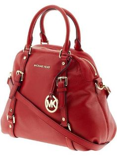 Michael Kors Bedford Red Leather Large Bowling Satchel | Traveling Of Life