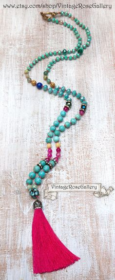 Bohemian Silk Tassel Necklace, Colourful BohoTassel Necklace, Turquoise Boho Chic Necklace, Turquoise - Hot Pink by VintageRoseGallery Pink Agate, Turquoise Gemstone, Etsy Jewelry, Handmade Jewelry, Jewellery, Boho Necklace, Necklaces, Boho Chic, Bohemian