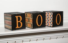 Set of 3 Wood Halloween Block / BOO / by OhThisCharmingLife, $24.00