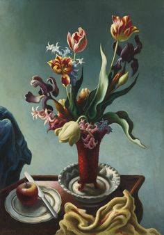 THOMAS HART BENTON, 1889 - 1975.  STILL LIFE WITH SPRING FLOWERS,  oil and tempera on board,  29 by 20 1/2 inches (73.7 by 52.1 cm).