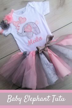 3 Piece Valentine Outfit/ Baby Girl Elephant Tutu/Scrappy Best Picture For valentine day crafts For Elephant First Birthday, Baby Girl First Birthday, Birthday Tutu, Birthday Ideas, Valentines Day Drawing, Baby Girl Elephant, Elephant Theme, Valentines Outfits, Holiday Outfits
